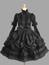 Sweet Lolita Dress OP Black High Collar Puff Long Sleeve Cotton Lace Ruffled Bow Lolita One Piece Dress