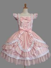 Lolitashow Sweet Lolita Dress Pink Cotton Bow Lace Ruffled Cap Sleeve Lolita One Piece Dress