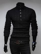 Черный пуловер свитер высокий воротник половина кнопки кабеля трикотаж