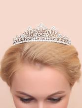 Wedding Tiara Headpiece Silver Alloy Brilliant Rhinestone Bridal Hair Accessorie