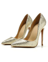 Women's Gold High Heels Woven Style Pointed Toe Stiletto Heel Pumps