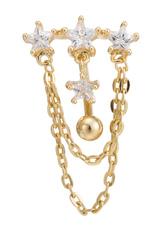 Umbigo anéis padrão estrela chique branco corpo joia Piercing para mulheres