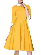 Vestido vintage 2019 de elastano de marca LYCRA de cuello vuelto con 3/4 manga de dos tonos con pliegues estilo clásico