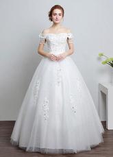 Robe de mariée Ivoire au large de la robe de bal de dentelle épaule perles étage longueur robe de mariée avec strass