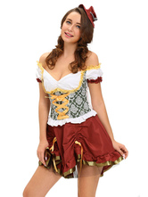 Anime Costumes AF-S2-639387 Beer Girl Costumes Halloween Sexy Burgundy Skater Dress For Women