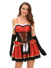 Anime Costumes AF-S2-639393 Little Red Riding Hood Costume Halloween Sexy Women's Red Lace Up Ruffle Costume Outfit In 3-piece