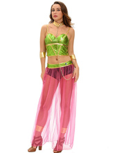 Anime Costumes AF-S2-639395 Halloween Sexy Costume Women's Indian Green Sheer Costume Outfit In 4-piece