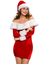 Anime Costumes AF-S2-639407 Christmas Santa Costume Women's Sexy Red Off Shoulder Bodycon Long Sleeve Dress With Santa Hat