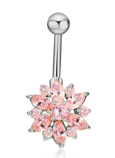 Body Piercing Jewelry Chic White Copper Rhinestone Flower Pattern Belly Button Rings For Women