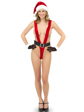 Anime Costumes AF-S2-639939 Christmas Sexy Costume Red Plunging Cheap Christmas Lingerie Belted Body Harness With Santa Hat
