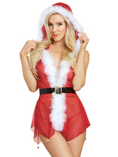 Anime Costumes AF-S2-639947 Christmas Sexy Costume Red Christmas Lingerie Faux Fur Sheer Tulle Hooded Mini Dress With T back For Women