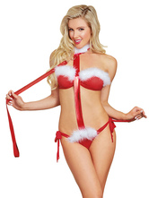 Anime Costumes AF-S2-639951 Christmas Sexy Costume Women's Red Cheap Christmas Lingerie Leather Body Bandage Set
