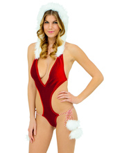 Anime Costumes AF-S2-640471 Sexy Christmas Costume Red Plunge Cheap Christmas Lingerie Neck Cut Out Backless Velvet Bodysuit With Hat