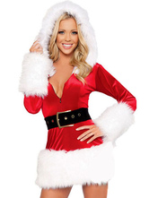 Anime Costumes AF-S2-639937 Sexy Christmas Costume Two Tone Hooded V Neck Tunic Midi Dress With Sash
