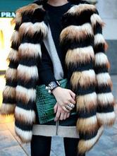 Damen Mantel Kunstfell mit Rundkragen und Farbblock in Schwarz