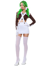 Anime Costumes AF-S2-637193 Halloween Costume Club Waitress Women's Color Block Suspender Skirt With Crop Top