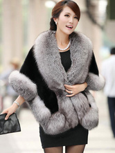 Faux Fur Cape Coat Women's Solid Color Fur Poncho Outwear For Winter