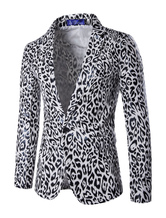 Blazer For Men Leopard Print Notch Collar Slim Fit Casual Suit Jacket