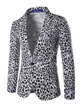 2021 Blazer Herren mit Print und figurbetonendem Design REGULAR FIT und Umlegekragen im casualen Stil gemischten Baumwollen für Alltag Casual Anzüge