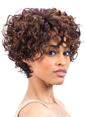 AF-S2-640867 African American Wigs Hair Light Tan Short Curly Tousled Synthetic Wigs