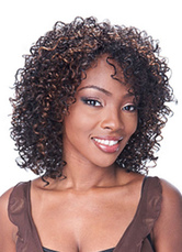 AF-S2-640873 African American Wigs Hair Deep Brown Tousled Long Curly Synthetic Wigs