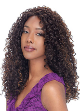 AF-S2-640869 African American Wigs Hair Deep Brown Curly Tousled Long Synthetic Wigs