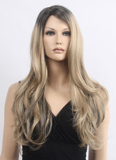AF-S2-638199 Blond Curly Wigs Long Women's Side Swept Synthetic Wigs Super Star Hair Style
