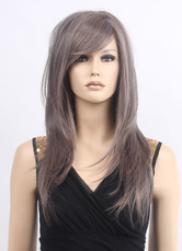 AF-S2-638197 Blond Long Wigs Straight Side-swept Bangs Synthetic Wigs For Women