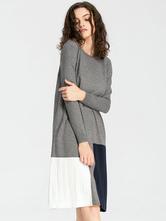 a1e3bbfeb524 ... Maglia abito manica lunga Multicolor donna oversize Shift Dress-No.4 ...