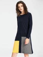 000f500730fb Maglia abito manica lunga Multicolor donna oversize Shift Dress ...