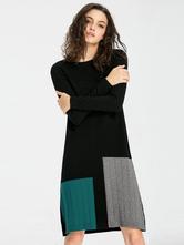 fe35fcf2adef ... Maglia abito manica lunga Multicolor donna oversize Shift Dress-No.2 ...