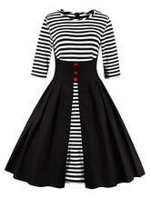 Black Vintage Dress Round Neck 3/4 Length Sleeve Striped Cotton Slim Fit Pleated Flare Dress