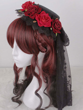 Lolitashow Gothic Hair Wigs Burgundy Curly Side Swept Synthetic Hair Wigs With Braids