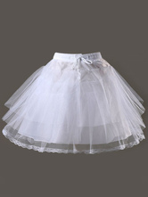 Lolitashow Süße Lolita Petticoat weißem Mesh Taft abgestufte kurze Lolita Unterrock