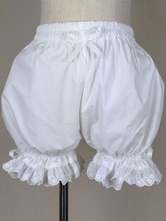 Lolitashow Sweet Lolita Bloomers Lace Trim Bows Plus Size Cotton Pumpkin Bloomers