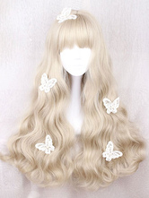 Sweet Lolita Wig Long Curly Blunt Fringe Light Brown Wigs For Lolita