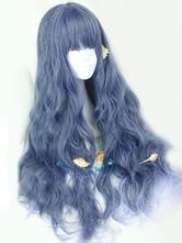 Lolita doce perucas longo encaracolado roxo real Harajuku Fashion perucas com franja sem corte