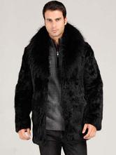 Faux Fur Coat Men's Black Turndown Collar Hook And Eye Fur Jacket