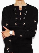 Curto renda preto blusa feminina acima do ilhós redondo Casual pulôveres pescoço