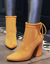 68607ec4cbe8 ... Black Suede Booties Chunky Heel Women s Pointed Bow Tie Short Boots-No.9