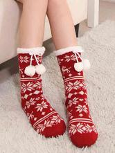 Lolitashow Christmas Lolita Socks Snowflake Printed Pom Poms Lolita Hosiery For Winter