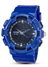 Blue Sports Watch Rubber Band Round Multifunction Digital Quartz Watch