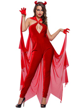 Anime Costumes AF-S2-643011 Halloween Devil Costume Red Sexy Women's Sleeveless Backless Long Jumpsuit With Headgear & Gloves