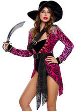 Anime Costumes AF-S2-643195 Halloween Sexy Pirate Costume Women's Printed Tassels Long Sleeve Costume Outfit In 4 Pieces