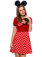 Anime Costumes AF-S2-643197 Sexy Mickey Mouse Minnie Costume Red Polka Dot Short Sleeve Skater Dress With Headpiece