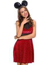 Anime Costumes AF-S2-643199 Sexy Mickey Mouse Minnie Costume Burgundy Illusion Sleeveless Polka Dot Slim Fit Dress With Headpiece