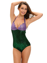 Anime Costumes AF-S2-643003 Sexy Mermaid Costume Halloween Women's Halter Backless Contrast Color Bodysuit