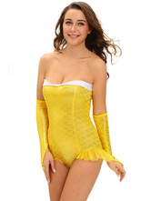 Anime Costumes AF-S2-643005 Halloween Mermaid Costume Sexy Women's Yellow Backless Strapless Bodysuit With Gloves