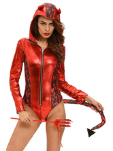 Anime Costumes AF-S2-642993 Red Devil Costume Halloween Sexy Women's Long Sleeve Zip Up Hooded Bodysuit With Wand