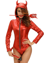 Anime Costumes AF-S2-642991 Halloween Demon Costume Red Sexy Women's Long Sleeve Zip Up Hooded Bodysuit With Wand